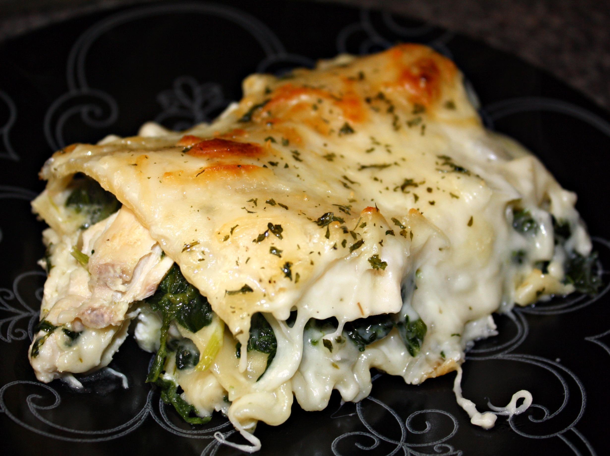 Chicken spinach lasagna for Spinach chicken lasagna recipe